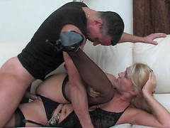 Dolled-up mommy makes her snatch ready for a rock-hard shaft of a hung stud