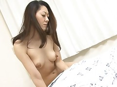 Two dudes boned hot Oriental mother i'd like to fuck making her engulf their weenies on her knees