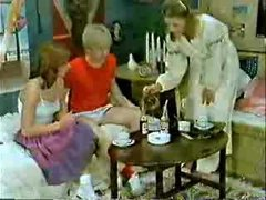 Brother&amp,#039,s friend and girlfriend playing to the doctor when mom  comes-Retro