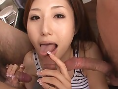 Slut Oriental mama deepthroats big dick and her slit fingered