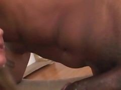 Black babe feels chubby rod of swarthy thug in mouth and twat